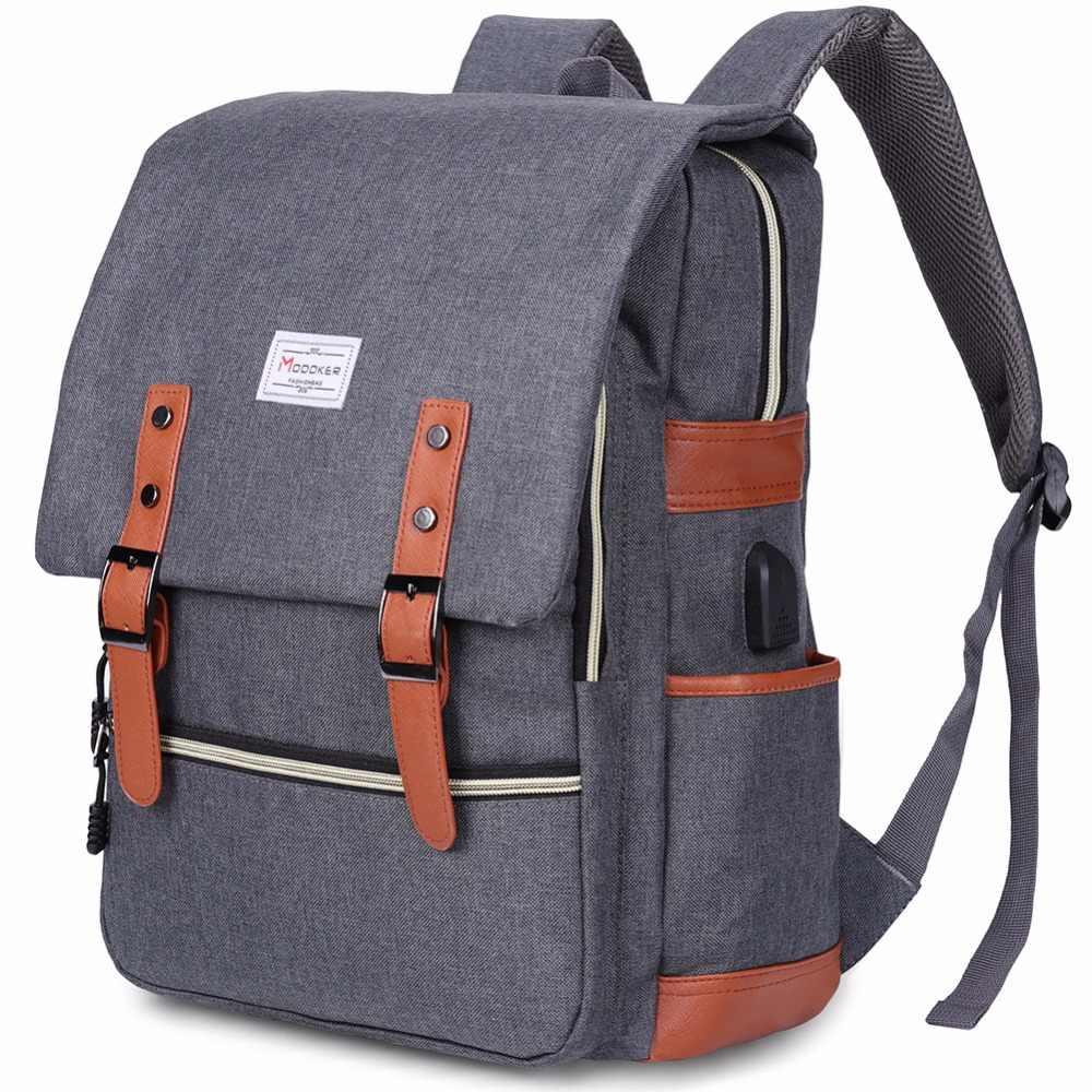 97320204b6ff Modoker Vintage Laptop Backpack With USB Charging Port Lightweight ...
