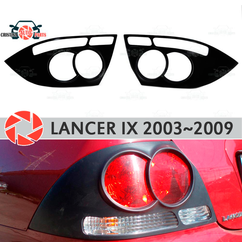 Eyebrows for Mitsubishi Lancer 9 2003~2009 for rear lights cilia eyelash plastic ABS moldings trim covers car styling s25 1156 ba15s p21w car led light bulb 13 smd 5050 brake rear turn signal light bulb leds lamp 12v white red car styling