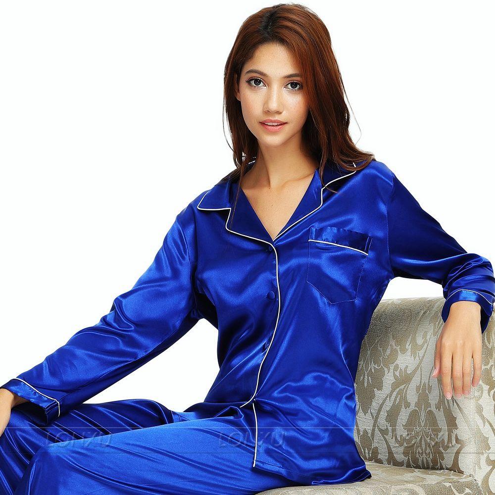 a50f706733 Womens Silk Satin Pajamas Set Pajama Pyjamas Set Sleepwear Loungewear XS S  M L ...