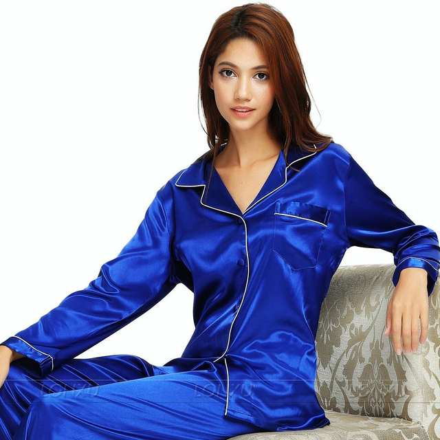 4d0dd35ee7f Online Shop Womens Silk Satin Pajamas Set Pajama Pyjamas Set Sleepwear  Loungewear XS S M L XL 2XL 3XL