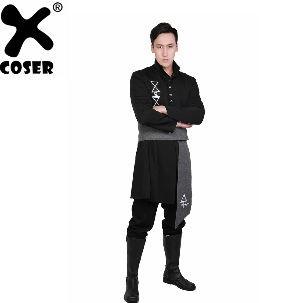 XCOSER Ghost B.C. Nameless Ghoul Black Coat & Belt Cosplay Costume 2018 New Arrival Halloween Cosplay Costume For Men