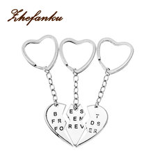 Silver Tone  3 pieces friendship keychain Best Friends Forever one pair llaveros porte clef key ring gift for friends