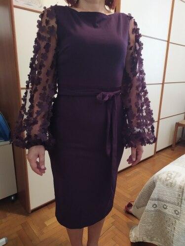 Purple Elegant Bodycon Dresses For Woman Party Dress Flower Applique Mesh Sleeve Form Fitting Women Midi Dress photo review