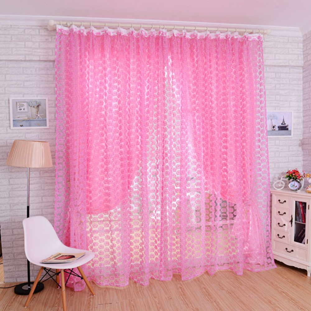 Floral Pattern Tulle Voile Rose Pattern Tulle Window Screens Door