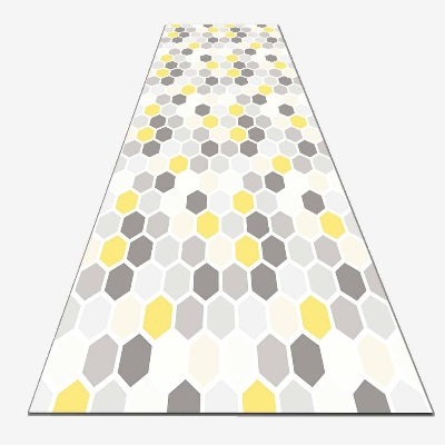 Else Dark Gray Yellow Hexagon Geometrics 3d Print Non Slip Microfiber Washable Long Runner Mat Floor Mat Rugs Hallway Carpets