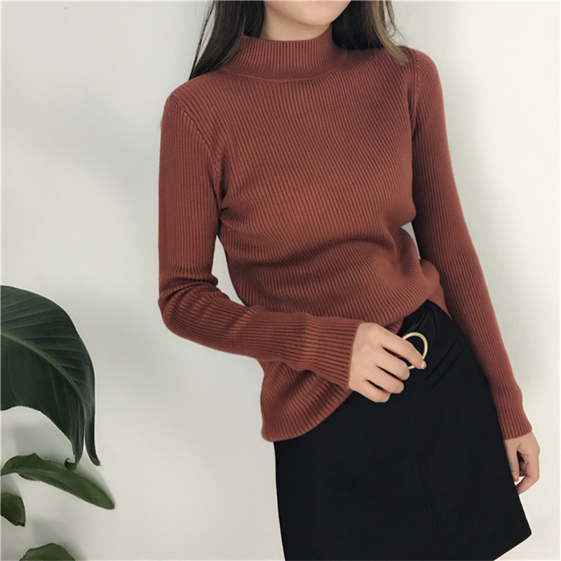 Sweater Knitted Pullover Women Clothes Long-Sleeves Autumn Winter Large-Size NEW Turtleneck
