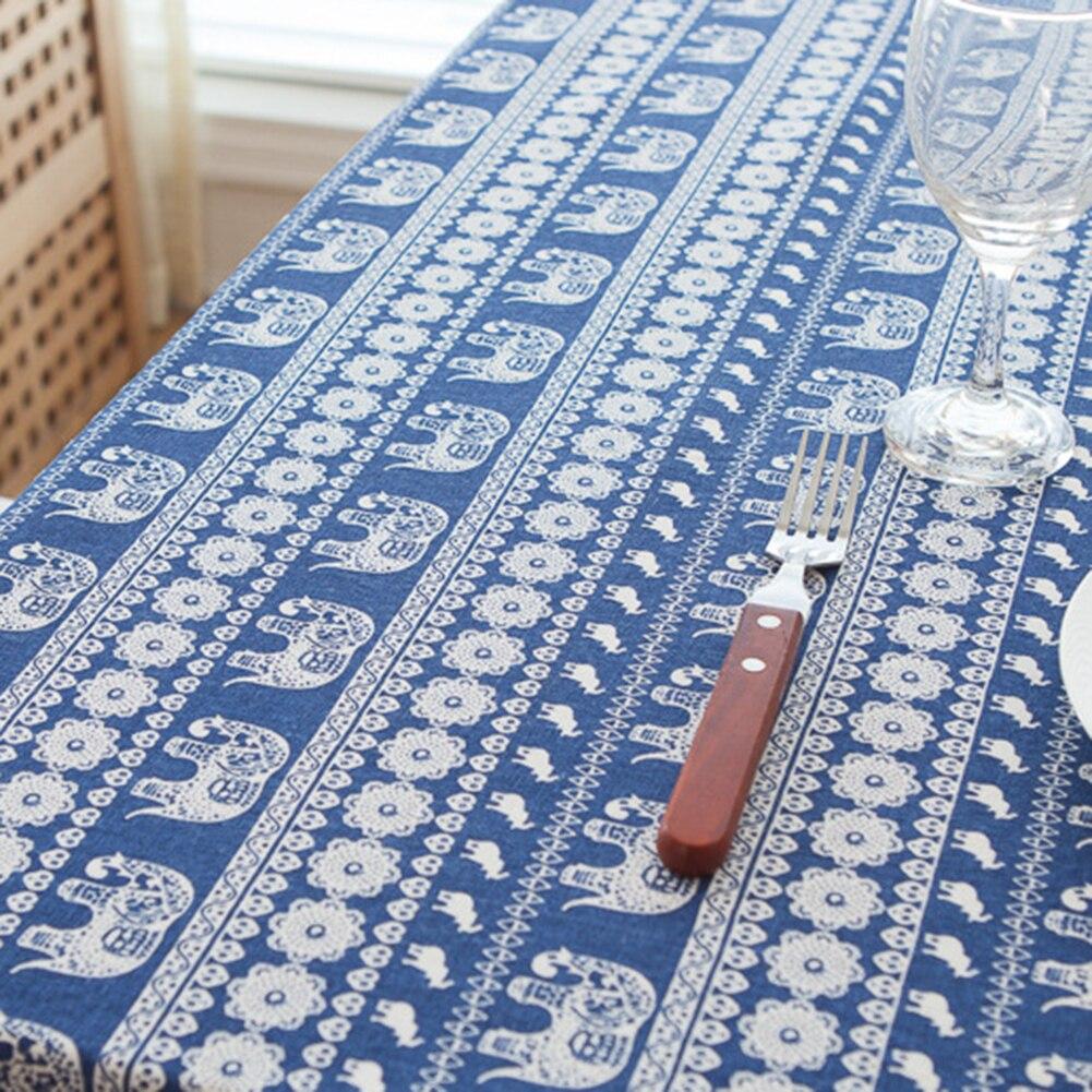 Multi Sizes Boho Ethnic Flower Elephant Cotton Linen Tablecloth ...