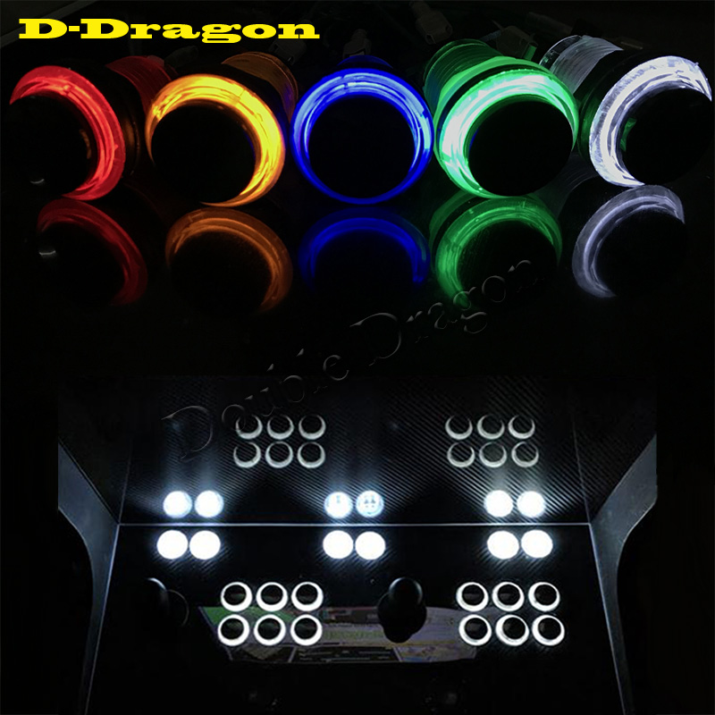 10Pcs/Lot Black Cover 28mm Hole Illuminated Arcade Push Button 5/12V LED Arcade Start Push Button With Microswitch