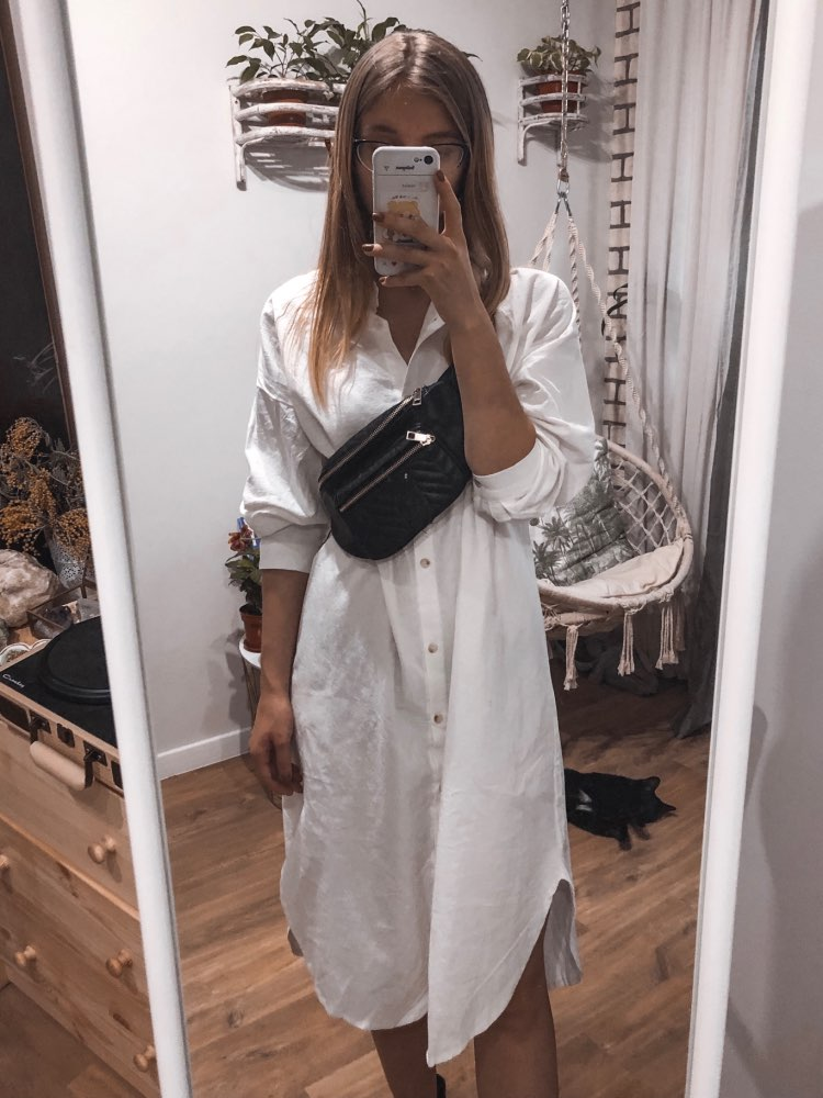 Vintage Autumn Long Dress Long Sleeve Shirt Turn Down Collar Woman Lady Loose Shirt Casual Fashion Maxi Dress Cotton Blue White photo review
