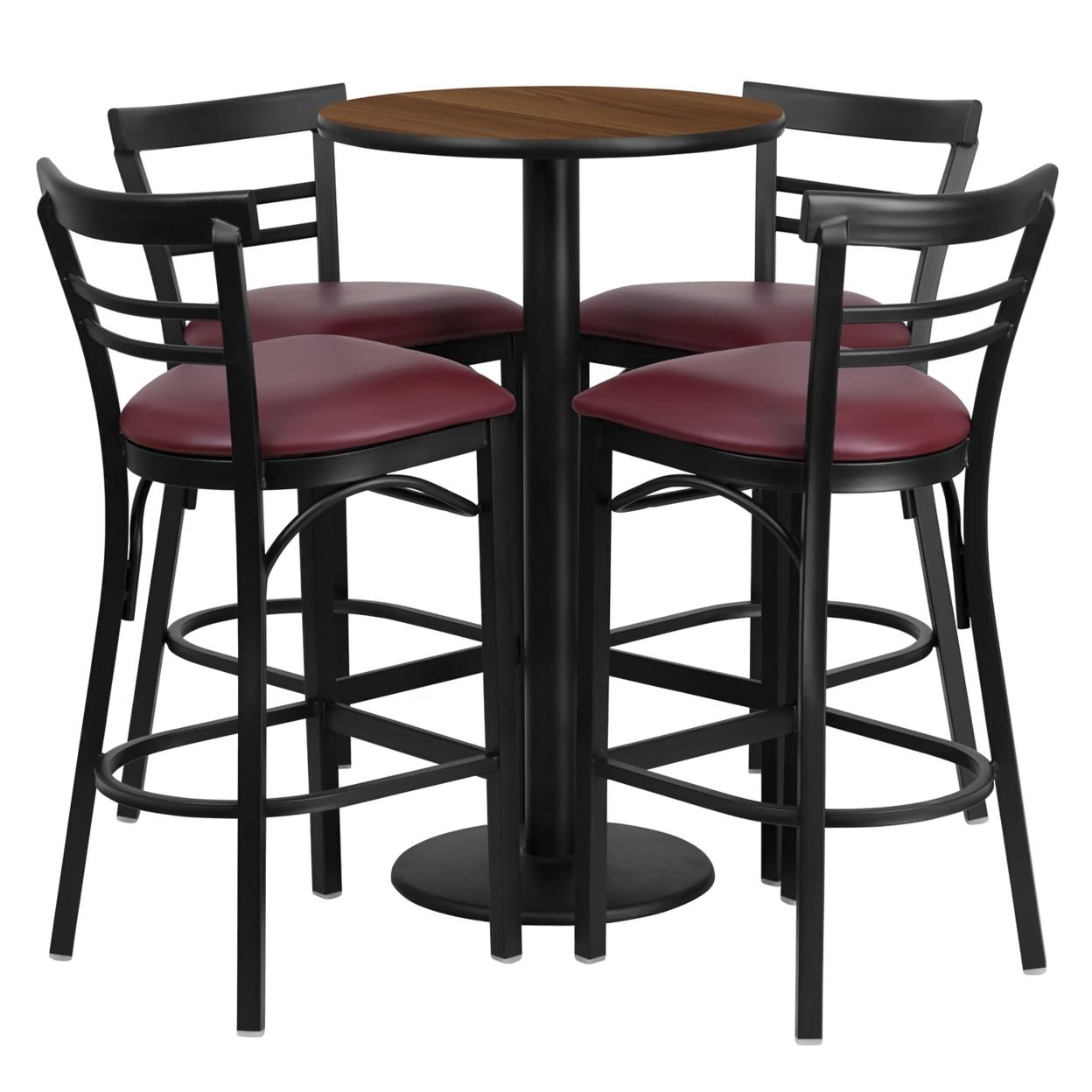 все цены на Flash Furniture 24'' Round Walnut Laminate Table Set with 4 Ladder Back Metal Bar Stools - Burgundy Vinyl Seat [863-RSRB1040-GG]