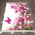 Else розовые белые розы тюльпаны цветы цветочные бабочки 3d Рисунок Противоскользящий задний моющийся декоративный ковер