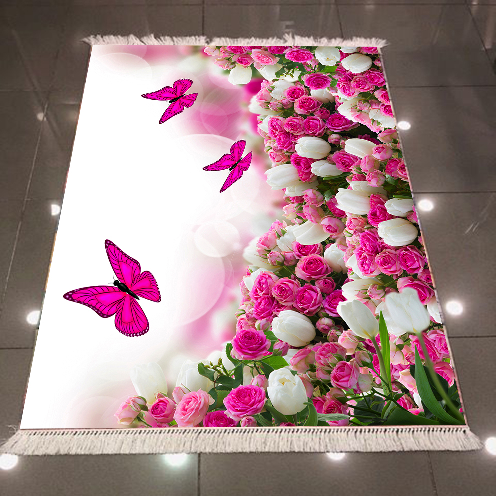 Else Pink White Roses Tulips Flowers Floral Butterfly 3d Pattern Print Anti Slip Back Washable Decorative Kilim Area Rug Carpet