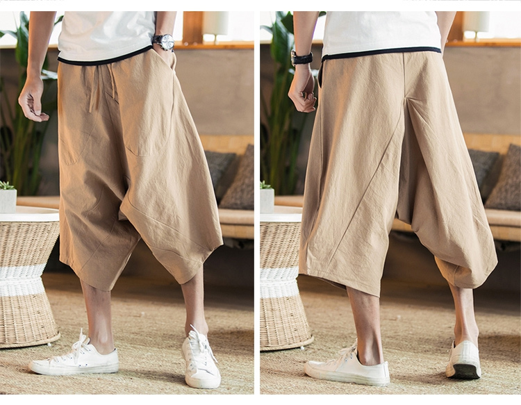 MRDONOO Men Pants Men's Wide Crotch Harem Pants Loose Large Cropped Trousers Wide-legged Bloomers Chinese Style Flaxen Baggy 98