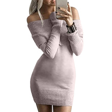Осень 2017 г. с плеча зима вязаное платье с лацканами пуловер облегающее Мини сексуальное платье женское платье Трикотаж