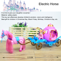 Fashion Doll Electric Horse Car Mini Coloful Horse Carriage For Kelly Doll Dream Castle Girl Children