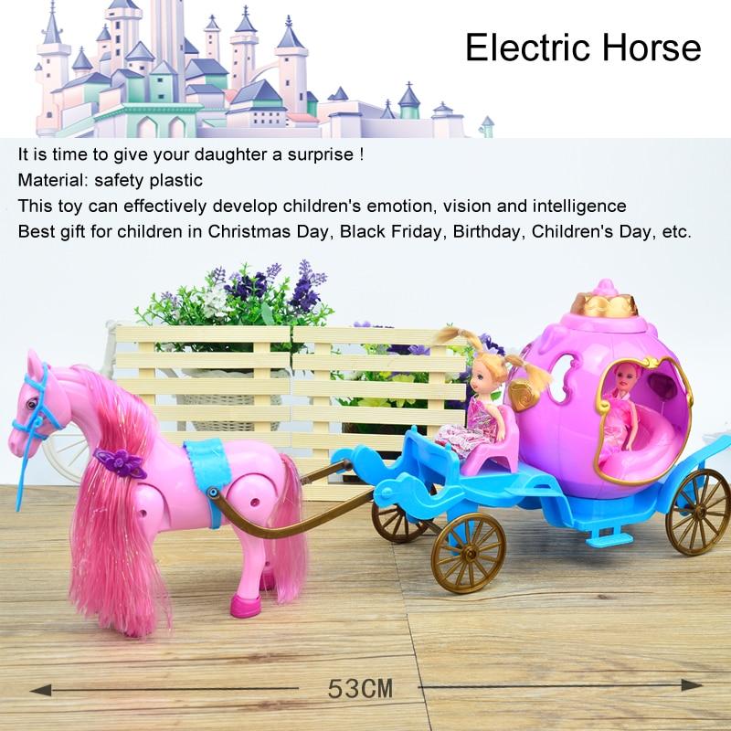 Mode poupée électrique cheval de voiture, Mini Coloful Calèche pour Kelly Poupée Rêve Château Fille Cadeau du Jour des Enfants d'anniversaire Jouet