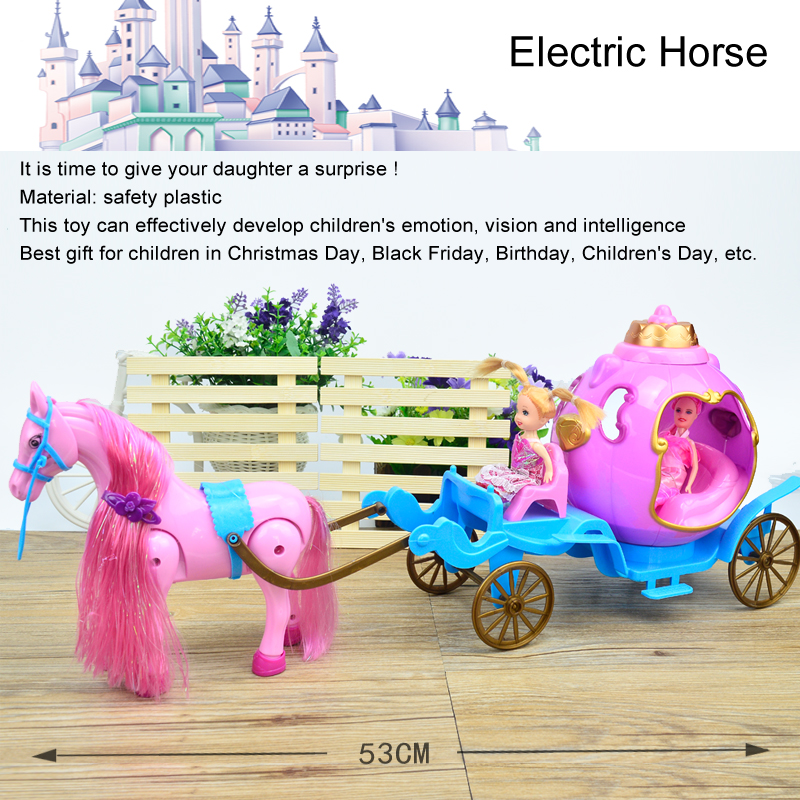 Fashion Doll Electric Horse Car,Mini Coloful Horse Carriage For Kelly Doll Dream Castle Girl Children's Day Gift Birthday Toy