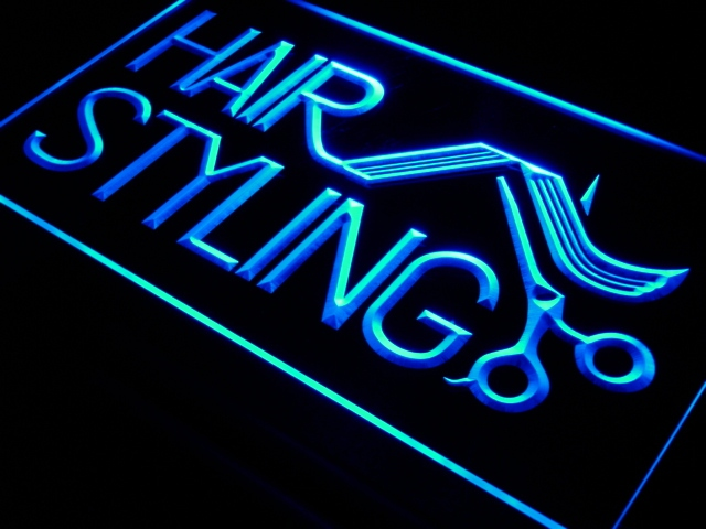 i517 Hair Styling Salon LED Neon Light Sign On/Off Switch 7 Colors 4 Sizes