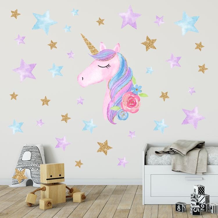 unicorn decor wall diy bedroom stickers stars heart unicorns star decals living decoration theme livingroom vinyl cartoon decal nursery horse
