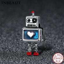 New DIY 925 Sterling Silver Heart Carved High Technology Cute Small Robot Charm Beads fit Trendy Bracelet for Women Anniversary new diy 925 sterling silver heart carved high technology cute small robot charm beads fit trendy bracelet for women anniversary