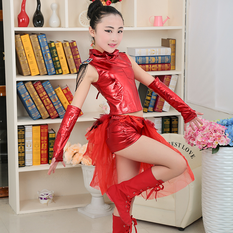 Children Girls Stage Model Performance Clothing Jazz Dance Costumes Hip Hop  Dancing Clothes 2 PIECES SET c80a2c4d7d8