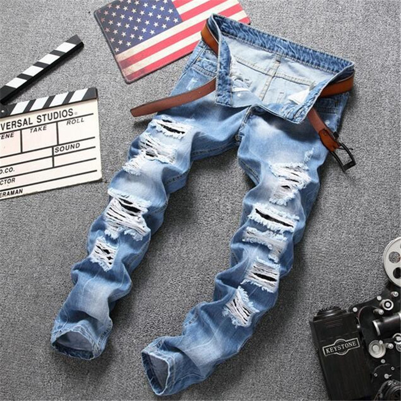 2018 High Quality Light Blue Denim Joggers Male Ripped Jeans Men Distressed Slim Fit Jeans Destroyed Denim Jeans Trousers