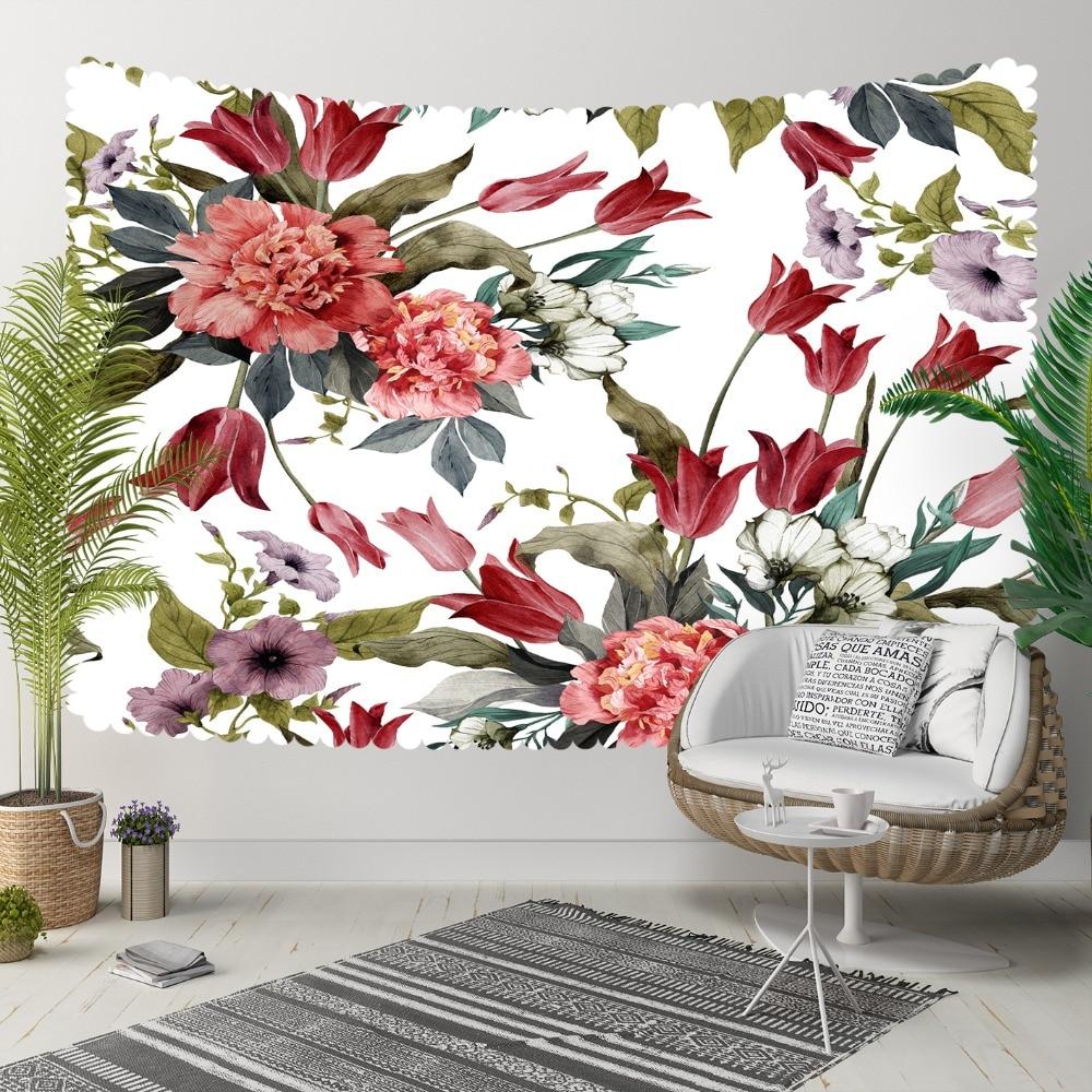 Ev ve Bahçe'ten Dekoratif Halılar'de Başka bir kırmızı çiçekler Yeşil Yapraklar Mor Çiçek Etnik 3D Baskı Dekoratif Hippi Bohemian Duvar Asılı Peyzaj Goblen Duvar Sanatı title=