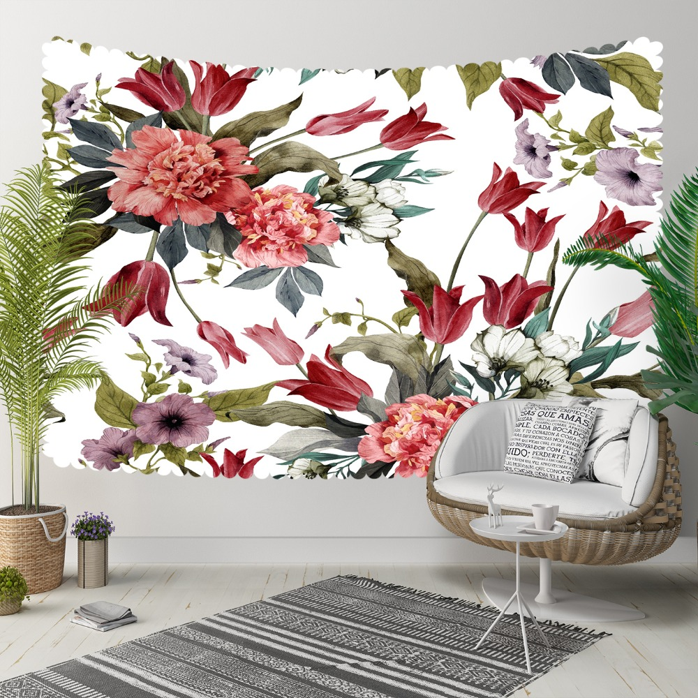 Else Red Flowers Green Leaves Purple Floral Ethnic 3D Print Decorative Hippi Bohemian Wall Hanging Landscape Tapestry Wall Art