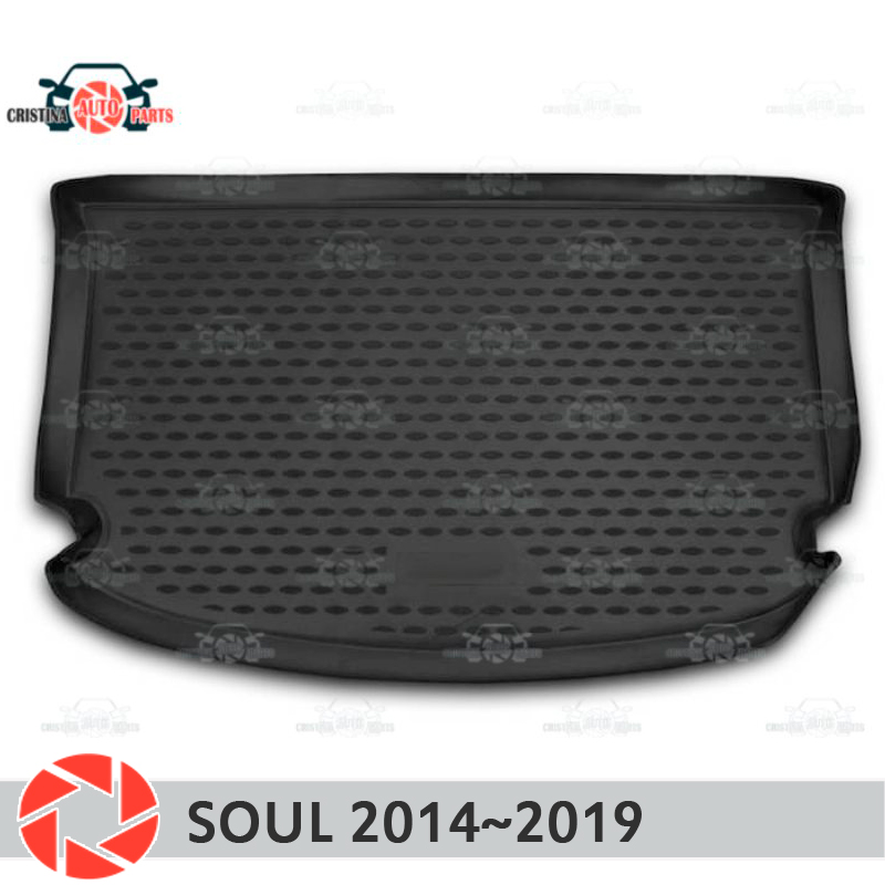 Trunk mat for Kia Soul 2014~2019 trunk floor rugs non slip polyurethane dirt protection interior trunk car styling special modified car trunk cover material curtain separated block for kia soul