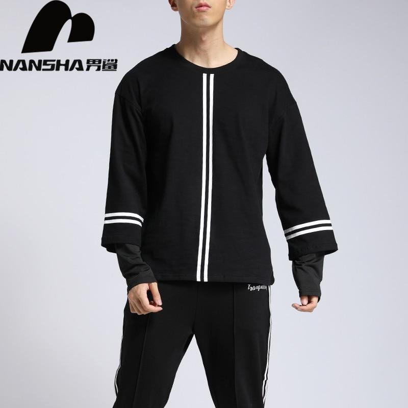 Pullover Sweatshirts Nansha Marke Fleece Hoodie Sweatshirt Männer Streifen Design Mode Pullover Streetwear High Street Skateboard Hoodies üPpiges Design