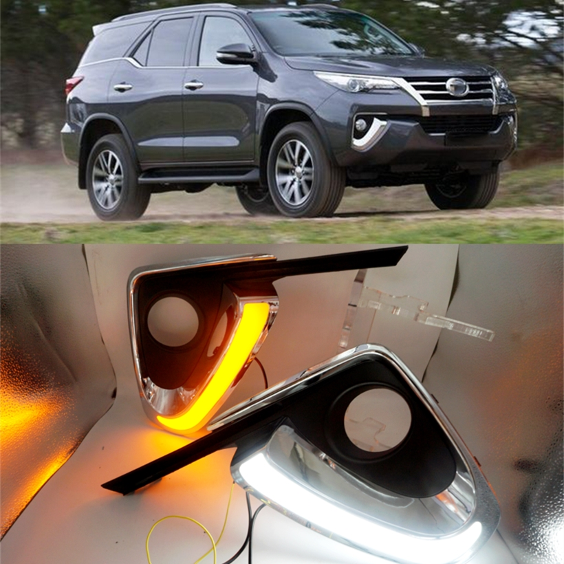 Car Flashing For Toyota Fortuner 2015 2016 DRL LED Daytime Running Lights Daylight fog lamp cover Turn Yellow Signal Car styling