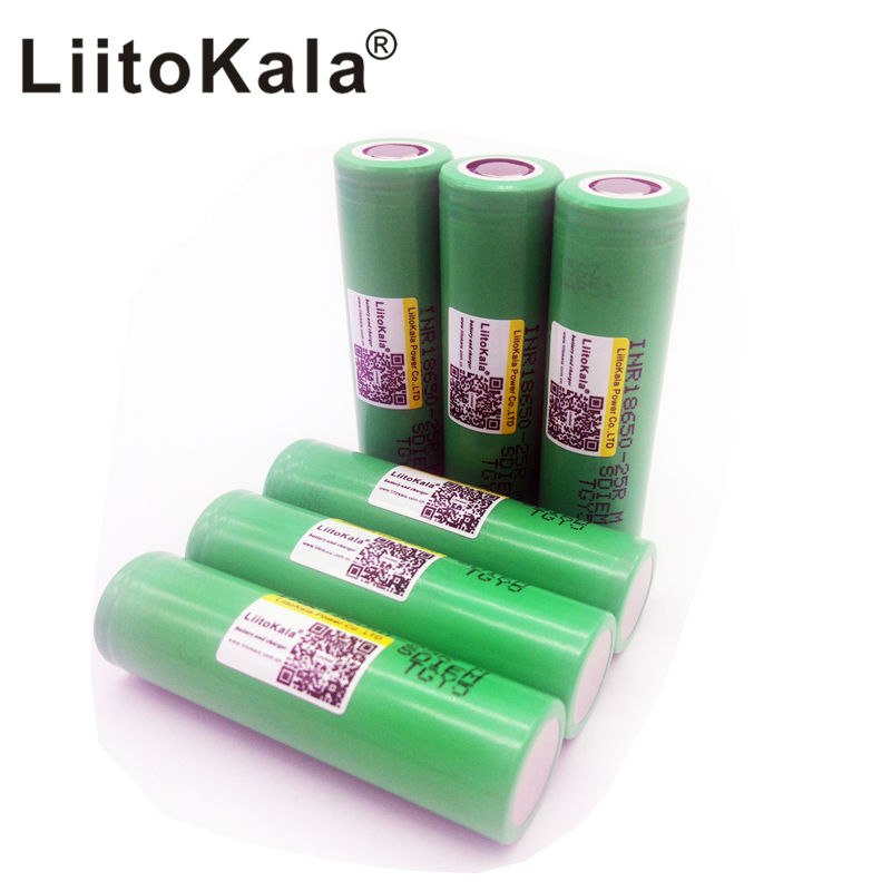 Liitokala Original 18650 2500mah battery INR1865025R 20A discharge lithium batteries, electronic cigarette Batte