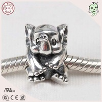 100 Real Silver Animal Design Jewelry 925 Sterling Silver Cute Elephant Charm Fitting European Famous Bracelet