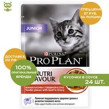 Pro Plan Nutrisavour Junior пауч для котят (кусочки в соусе), Говядина, 24*85 г.