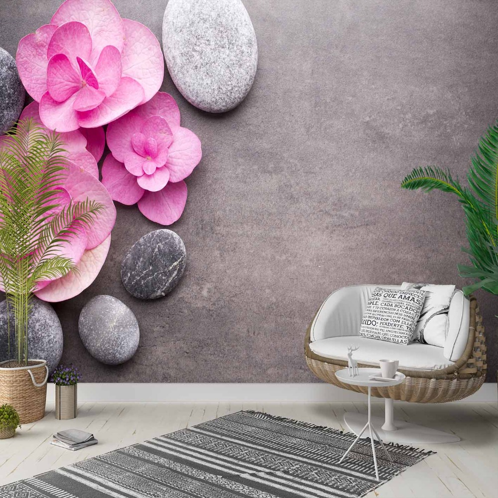 Else Gray Floor Pink White Rose Leaf Flowers 3d Photo Cleanable Fabric Mural Home Decor Living Room Bedroom Background Wallpaper