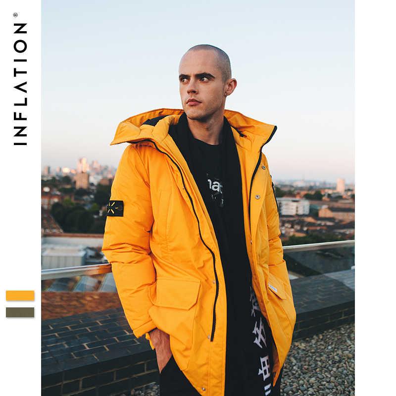 Инфляция длинный пуховик Мужская зимняя куртка модное зимнее теплое белое пуховое плотное пальто с капюшоном зимняя верхняя одежда куртка 8765 W