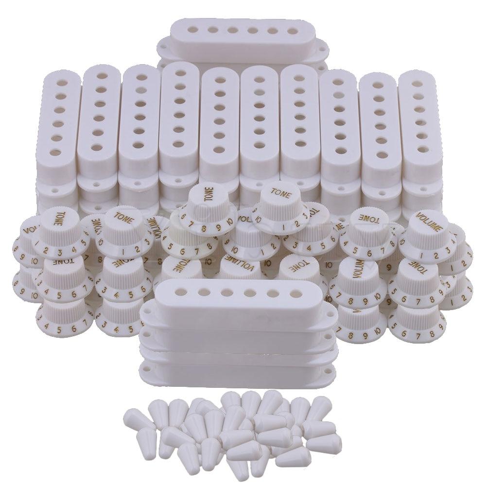 Yibuy housse de ramassage de guitare Volume boutons de tonalité interrupteur pièces de pointe ensemble blanc de 50