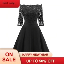2019 women's retro horn party dress large size lace stitching off-shoulder dress robes retro ladies dress недорого