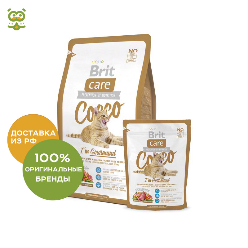 Cat food Brit Care Cat Cocco Gourmand Bezzernova for fastidious cats, Duck, 400 g цена