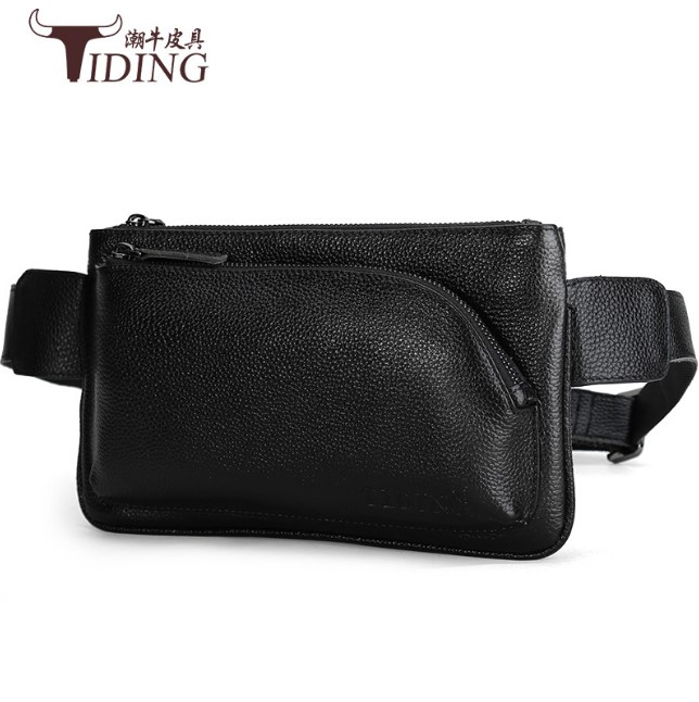 Waist Pack Black Cow Leather Bag Men Genuine Leather Waist Bag Man Waist Pack Funny Pack Belt Bags Chain Waist Bag For Phone dancer feather faux pearl waist belt chain