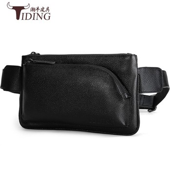 Waist Pack Black Cow Leather Bag Men Genuine Leather Waist Bag Man  Waist Pack  Funny Pack Belt Bags Chain Waist Bag For Phone i4 bk l protective leather waist belt bag case for iphone 4s 4 black