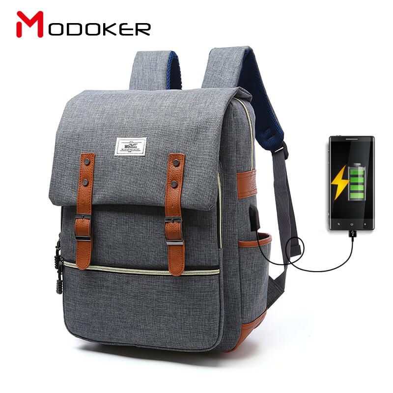 Modoker Korean Unisex External USB Backpacks Anti-thief Mochila for Laptop 14-15 Inch Notebook Computer Bags Women's Rucksack