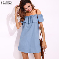 Plus Size Fashion ZANZEA 2017 Women Denim Blue Off Should Shirt Dress Summer Ruffled Short Sleeve