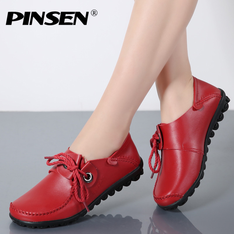 PINSEN Genuine Leather Autumn Women Flat Shoes Woman Oxford Lace up Ballet Flats moccasins Black Boat Shoes Ladies Lazy Loafers women shoes flat genuine leather hand made ladies flat shoes black brown coffee casual lace up flats woman moccasins 568 5