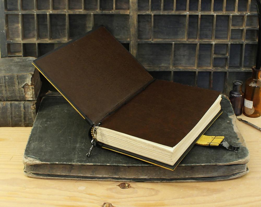 Genuine leather travel journal notebook sketchbook Leather Journal with Lock and Key Yellow Antiqued Leather in Notebooks from Office School Supplies