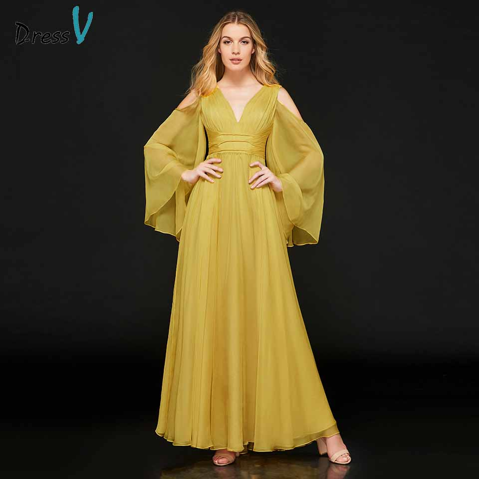 Dressv Evening Party-Gown Long-Sleeves Elegant V-Neck Pleat A-Line Customize Zipper-Up