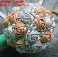 Silver Khaki Wedding Bouquet Pearl Diamond Bridal Bridesmaid Wedding Bouquet Silk Rose DIY Artificial Ribbon Satin Flower Stock