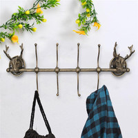 Decorative Antique Hook Wall Mounted Deer Antlers Hanger Cast Iron Stags Head Rack Hat Coat Key Storage Hooks Home Ornaments