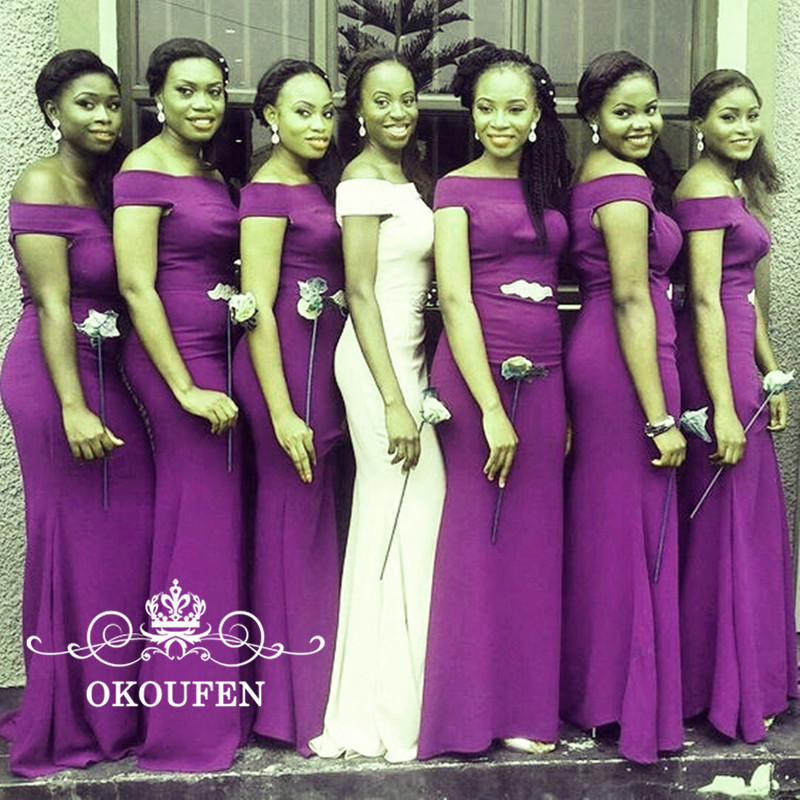 Customize Purple Satin Mermaid   Bridesmaid     Dresses   For Women 2018 Boat Neck Corset Back African Girls Long Party   Dress   Gowns