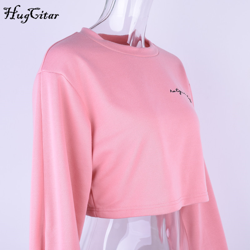 hugcitar letters embroidery sweatshirt 2017 autumn female long sleeve women crop top pink white solid girl casual pullover Hugcitar letters embroidery Sweatshirt female, Long Sleeve crop top UTB8YL8ljE 4iuJk43Fqq6z